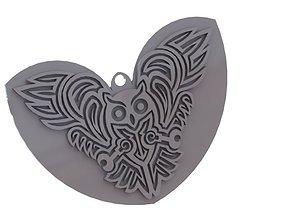 3D print model Celtic Owl - pendant Keychain earring