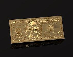 One hundred dollar bill 030 3D printable model