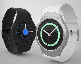 3D model Samsung Gear S2 Silver Black Clock