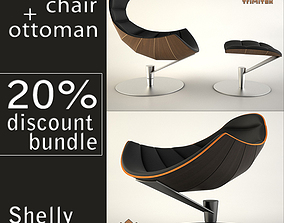 Lobster chair with ottoman and Shelly chair 3D