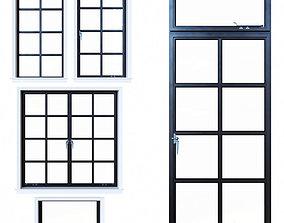 Steel windows 3D model
