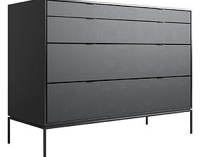 3D model Chest of drawers in metal and leather Realto