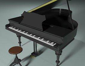 Grand piano 3D model music