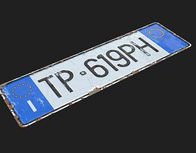 3D model EU Licence Plate Substance Material