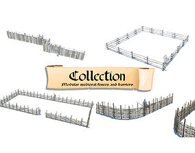 Modular medieval wooden fences and barrier pack 3D model