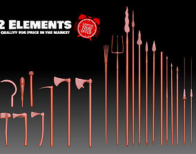Axes Spears weapons collection Medieval 3D print model 3