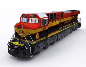 3D asset GE locomotive KCS