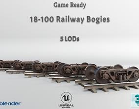 Railway Freight Bogie 18-100 Game ready 3D asset