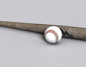 3D model Baseball bat and ball