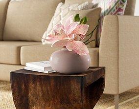 Cymbidium Orchid Floral Arrangement in Vase 3D model
