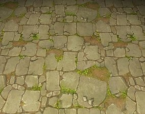 ground stone grass tile 25 3D