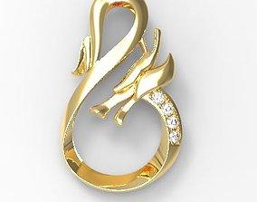3D printable model Simple dragon with diamond pendant