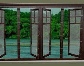 OPENABLE WOODEN WINDOW WITH TRANSPARENT MIRROR 3D
