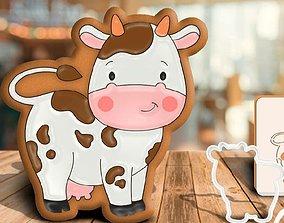 3D printable model cookie cutter cow cookiecutter