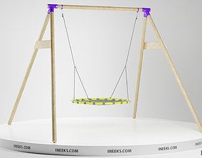 Outdoor wooden swing set with nest seat on the 3D model