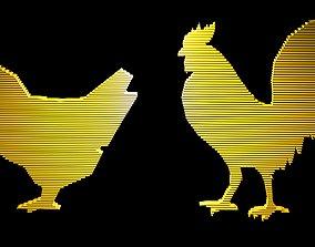 3D model Low poly chicken symbols 1