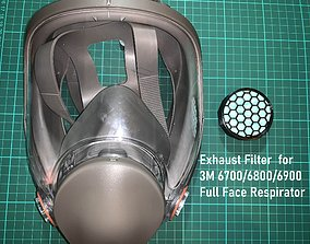 3M 6700 6800 Full Face Respirator Exhaust 3D model 3