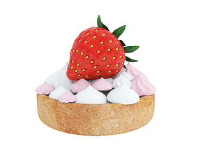 Strawberry cake with meringes 3D model