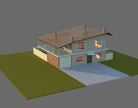 realtime Low Poly 3d House with Backyard