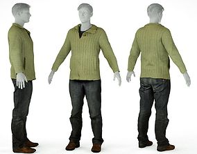 3D model Male Casual Outfit 10 Pull Trousers Shoes