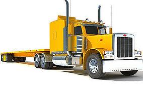 Yellow Semi Truck Flatbed 3D