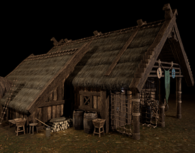 3D model Viking Medieval House 03 with interior and Props