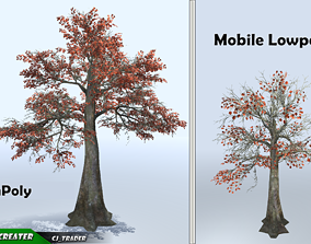 Lowpoly Mobile Tree Kapok Blossom Set 3D Model realtime