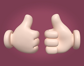 3D asset Cartoon Hand - Like Sign Icon - Four Fingers