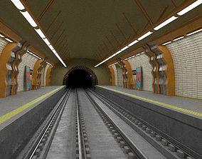 Metro station PBR 3D model