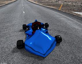 Go Kart Racing Car Blue Electric 3D MODEL low-poly