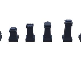 chess pieces set 3D print model
