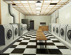 3D asset Laundromat Exterior with Interior