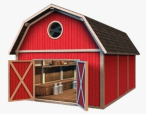 3D asset low-poly Barn with interior