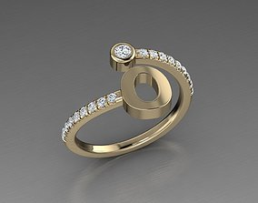 3D printable model Jewelry Alphabet Diamond Ring O