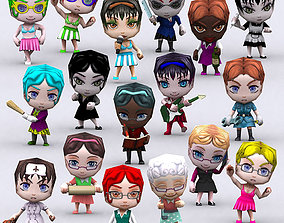 3DRT - Chibii People Females animated