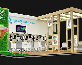 3D model 8x5 3 side open exhibition stand