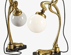 3D model Vintage Gilt Bronze Art Nouveau Desk Lamp