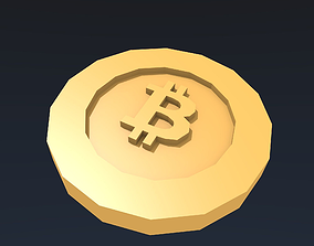 Stylized low poly bitcoin 3D asset