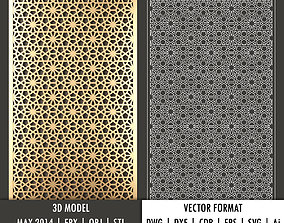 Arabic decorative panel 8 3d model and vector format
