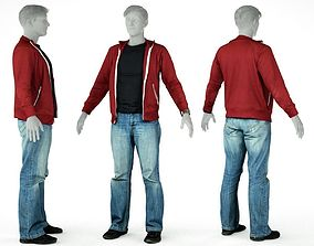 Male Casual Outfit 26 Pull Pants Footwear 3D asset