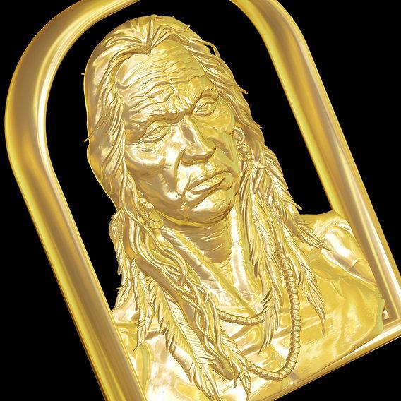 Native American Indian Medicine Man pendant jewelry gold 3D print model