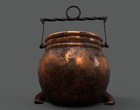 3D asset Medieval Copper Cooking Pot