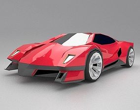 Lowpoly futuristic sportscar concept 3D asset