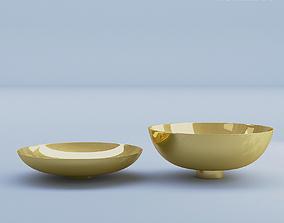 Gold Bowls Metal 3D