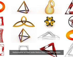Mathermatical art Klein bottle Mobius Strip Triquetra 3D