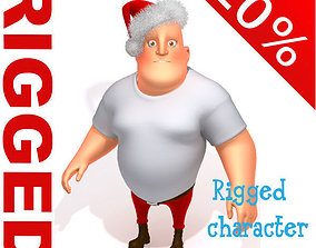 3D Big man santa claus cartoon rigged