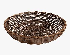 3D model Wicker basket tray dark brown