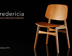 3D Fredericia Soborg Wood Chair by Borge Mogensen 1950