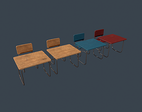 3D asset School Desk and Chair Variations