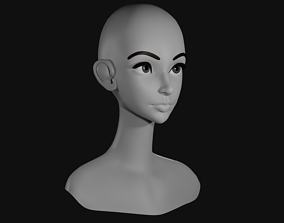 Low Poly Head Female B 3D model